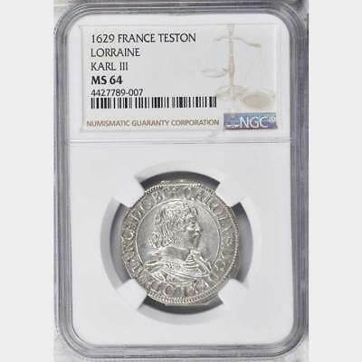 1629 German States Lorraine Teston NGC MS 64 Incredible Example France, 0 Finer