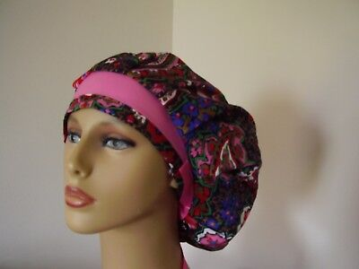 Bouffant /Ponytail Combo Scrub Hat- FLORAL PAISLEY/Pink- One size- Handmade