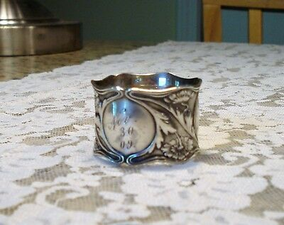 Antique Gorham Art Nouveau Poppy Dated 1909 Sterling Napkin Ring