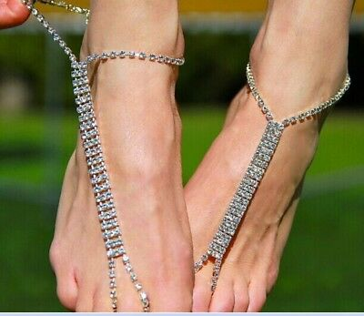 Bling Luxury Wedding Bridal Barefoot Ankle Silver Jewelry Gown Beach In Stork