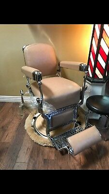 Antique Koken Stained Glass Barber Pole, Restored Barber Chair, Original Stool