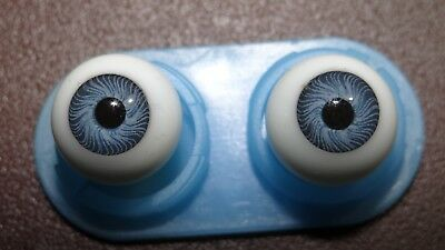 ONE (1) Pair Round Glass Doll Eyes BLUE  10 mm German? French? Hand Blown