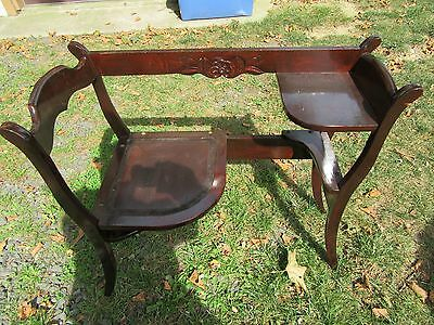Antique  Telephone Bench Seat Chair   Back