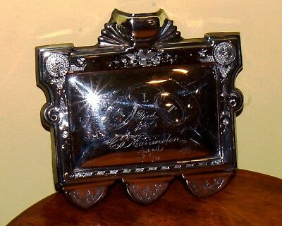 Rare Reed & Barton Patented Casket Coffin Funeral Plaque Silverplate 1876 FLT