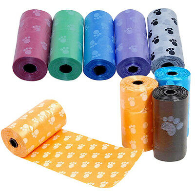 15X/Roll Claw Print Pet Dog Pick Up Waste Poop Bags Degradable Portable Random
