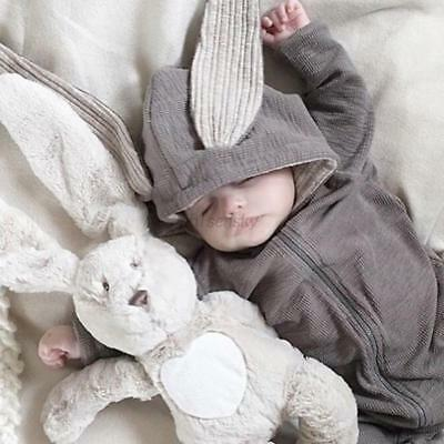 Baby Boy Girl Winter Bunny Ear Romper Jumpsuit Gray Hoodies Cotton Outfit 0-4T