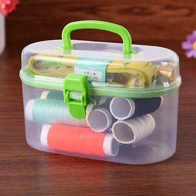 Dual Layer Thread Threader Needle Tape Measure Scissor Storage Box Sewing Kit