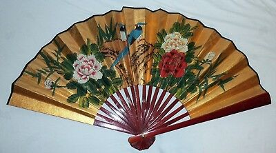 "Japanese Vintage Hand Painted Sensu Folding Gold Fan With Birds & Flowers 27""x15"