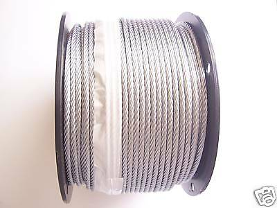 "Galvanized Wire Rope Cable  3/16"", 7x19, 200 ft reel."