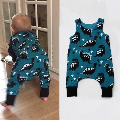 AU Stock Infant Baby Boy Dinosaur Romper Jumpsuit Playsuit Outfits Clothes 0-18M