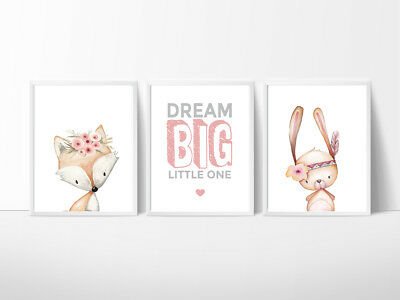 Woodland animals Nursery Decor, Kids Wall prints, Fox, Rabbit