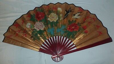"""Japanese Vintage Hand Painted Sensu Folding Gold Fan With Multi & Flowers 27""""x15"""