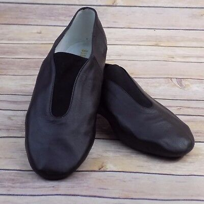 New Bloch Adult Black Leather Flex Slip-on Jazz Dance Shoes Size 9