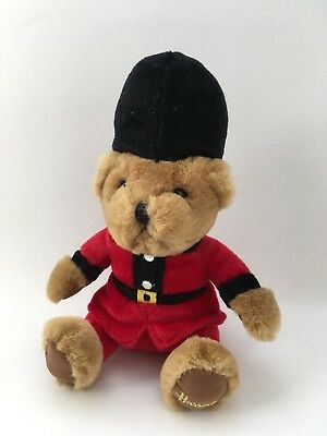 """HARRODS Soft Plush Toy BEEFEATER TEDDY BEAR 7"""" Red Black Queens Guard Toy Gift"""