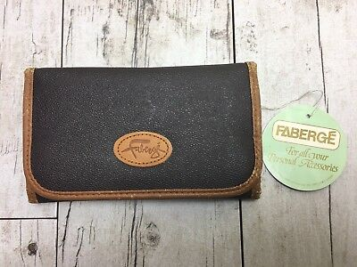 Vintage Faberge By Aristocrat Designer Leather Wallet Trifold Brown NEW WITH TAG