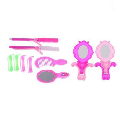10pcs Dolls Comb Mirror Hair Curler Curling Iron for Barbie Kelly Accessory