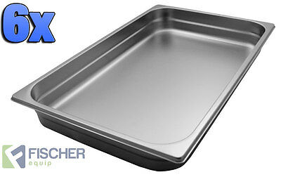 """""""BRAND NEW"""" 6 PACK OF 1/1 STAINLESS STEEL GASTRONORM TRAYS 530mm x 325mm x 40mm"""