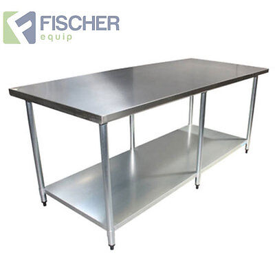 2440mm x 762mm NEW STAINLESS STEEL #430 GRADE KITCHEN BENCH -CATERING WORK TABLE