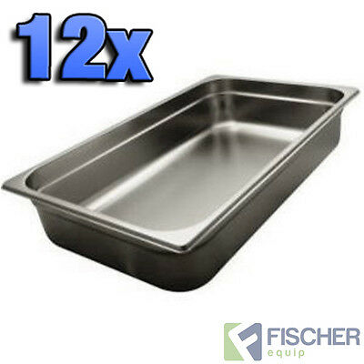 """""""BRAND NEW"""" 12 PACK 1/1 STAINLESS STEEL GASTRONORM TRAYS 530mm x 325mm x 100mm"""
