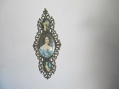 Beautiful Large Ornate Brass Frame With Three Lovely Prints Under Glass