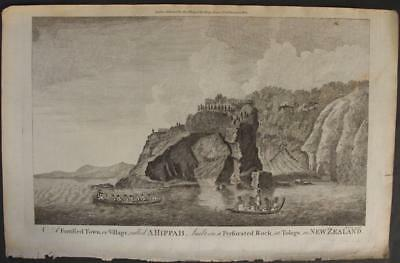 New Zealand Mercury Bay 1784 Hogg & Cook Unusual Antique Copper Engraved View