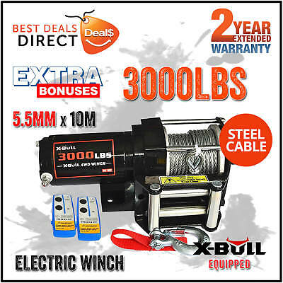 X-BULL 12V 3000LBS 1360kg Wireless Electric Winch Steel Cable ATV-4WD-2-REMOTES