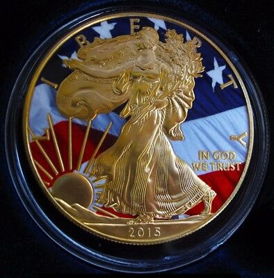 """2015 American Silver Eagle *24K Gold Gilded & Colorized """"Freedom Eagle""""...."""