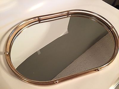 """Vintage Gold Toned Mirrored Serving Tray Made In Hong Kong 13.5"""""""