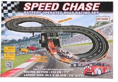 Two Lane Road Racing Set 2 magnetic racing cars &2 controllers Kids Fun Toy Xmas