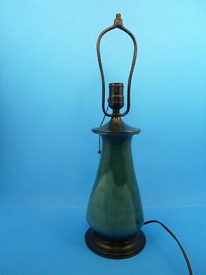 """Vintage Arts Crafts Style Drip Glaze Pottery Teal Japanned Brass Table Lamp 18""""H"""