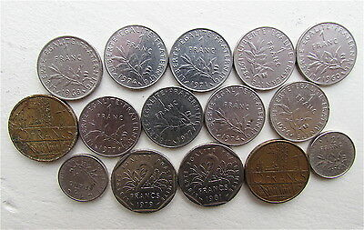Pre-Euro Franc Coins From France, 21, Varying Conditions