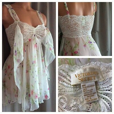 VTG 80's Victoria's Secret Babydoll Gown Chemise Nightgown Sheer Chiffon Roses S