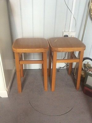pair of Mid Century kitchen stools pine and Vinyl wood effect tops