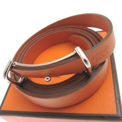 Authentic HERMES leather Orange Leather Bracelet Bangle Used in Japan