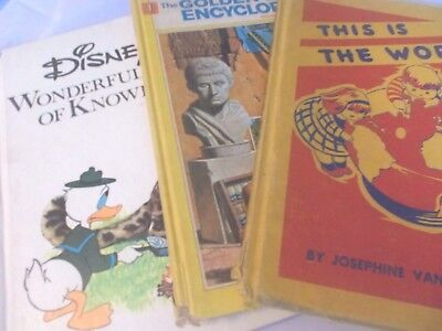 Lot of 3 Vintage Children's Books: Disney Wonderful World of Knowledge + more