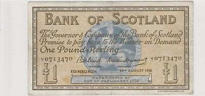1958 £1 One Pound Bank Of Scotland Edinburgh Note Circulated 470