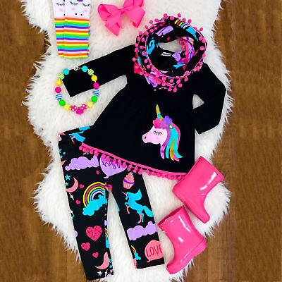 AU Stock Unicorn Kids Baby Girl Outfits Clothes T-shirt Top Dress+Long Pants Set
