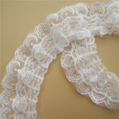 1yd 2-layer White Pleated Organza Lace Edge Trim Gathered Wedding Ribbon Sewing