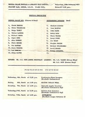 Crystal Palace v Peterborough Utd Reserves Programme 25.2.1970