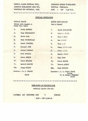 Crystal Palace v Queens Park Rangers QPR Reserves Programme 1.9.1976