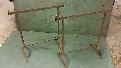2x antique vintage wrought iron trestles  blacksmith table legs iron works