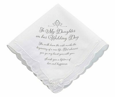 Wedding Handkerchief Bride Hanky For My Daughter Bridal Accessory Gift