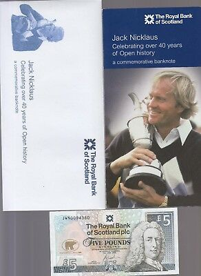 2005 £5 Five Pounds The Royal Bank Of Scotland Jack Nicklaus Note Folder Env Unc