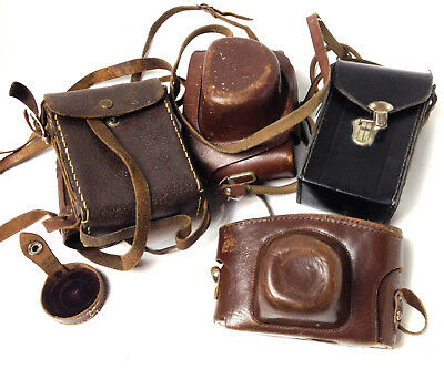 Lot of Vintage Leather Camera Cases