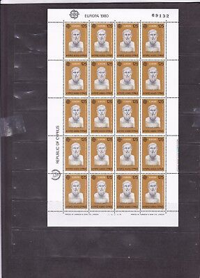 1165 Cyprus EUROPA Complete Sheet 125 MNH Stamps