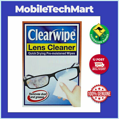Clearwipe◉Soft Wipes◉Lens Glass SunGlass Watch Cleaner◉Pre-Moistened Micro-Fibre