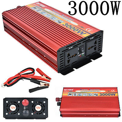 3000W Peak Truck Car DC12V/24V to AC110V Power Inverter Converter USB Charger