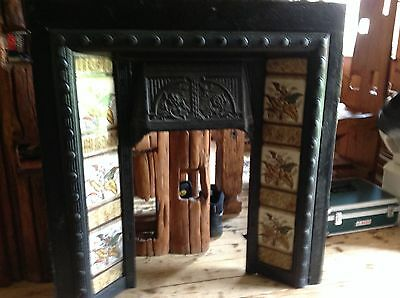 Victorian  Cast Iron Tiled Fire Insert / Great Condition