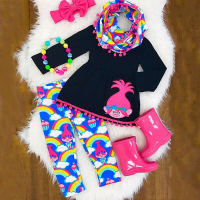 AU Stock Kids Baby Girl Outfit Clothes Dress Long T Shirt Top+Leggings Headband