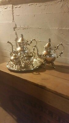 Birmingham feeted  Vintage Silver on Copper 5pc Tea